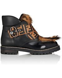 Fendi - Fur-trimmed Leather Ankle Boots - Lyst