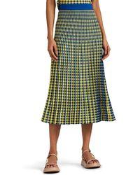 ec8db862a4 Proenza Schouler Graphic-print Cut-out Hem Pleated-crepe Midi Skirt ...