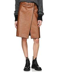 Prada - Leather Foldover Skirt - Lyst