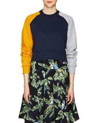 Cedric Charlier - Colorblocked Cotton Fleece Sweatshirt - Lyst
