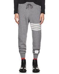 Thom Browne - Block-striped Cashmere-cotton Sweatpants - Lyst