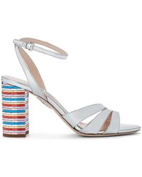 Miu Miu - Metallic Leather Ankle-strap Sandals - Lyst