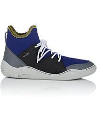Lanvin - Neoprene & Leather Sneakers - Lyst