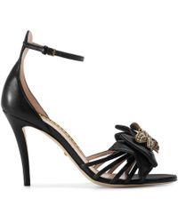 4987fc0edf2b Gucci - Embellished Leather Ankle-strap Sandals - Lyst