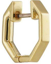 Finn - Yellow Gold Octagonal Huggie Hoop - Lyst