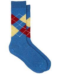 Barneys New York - Argyle Cashmere-blend Mid-calf Socks - Lyst