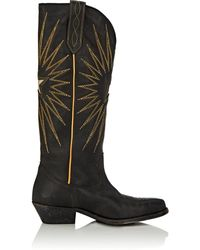 Golden Goose Deluxe Brand - Wish Star Embroidered Textured-leather Knee Boots - Lyst