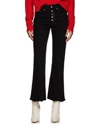 MM6 by Maison Martin Margiela - Distressed High-rise Flared Crop Jeans - Lyst