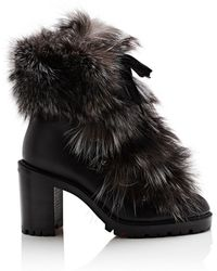 74292726767 Christian Louboutin Fanny 70 Fur-trimmed Leather Lace-up Booties in ...