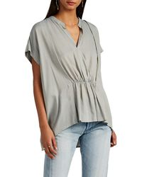 Pas De Calais - Voile Pleated V-neck Blouse - Lyst