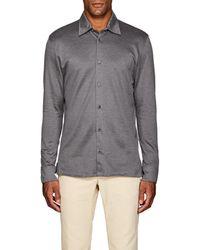 Luciano Barbera - Geometric-jacquard-knit Cotton Shirt - Lyst