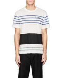Off-White c/o Virgil Abloh - Thedrop@barneys: Logo Mixed-stripe Linen-blend T - Lyst