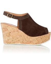 Barneys New York Suede Platform Wedge Sandals
