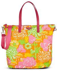 Prada Leather-trimmed Floral Tote Bag - Multicolour