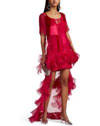 Givenchy - Ruffled Mixed-media Tunic Top - Lyst