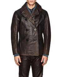 RRL - Leather Peacoat - Lyst