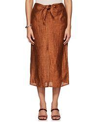 MASSCOB - Linen-blend Self-tie Midi-skirt - Lyst