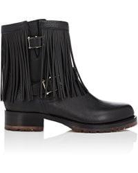 Valentino | Fringe Leather Moto Boots | Lyst