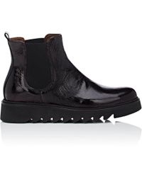 Barneys New York Wedge-sole Patent Leather Chelsea Boots