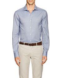 Ralph Lauren Purple Label - Aston Herringbone Cotton Shirt - Lyst