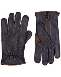Barneys New York - Navy Deerskin Gloves - Lyst