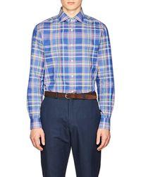 Ralph Lauren Purple Label - Plaid Cotton-linen Shirt - Lyst