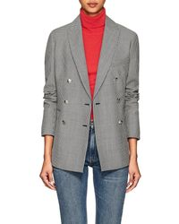 Barneys New York Houndstooth Wool-mohair Double-breasted Blazer - Black