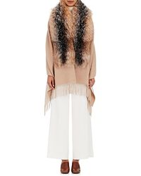 Barneys New York - Wool-blend Fur-trimmed Cape - Lyst