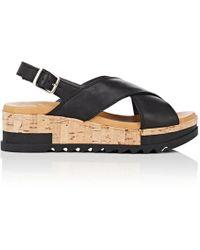 Barneys New York - Crisscross-strap Leather Platform Sandals - Lyst