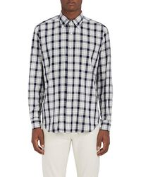 Barneys New York - Plaid Cotton Button - Lyst