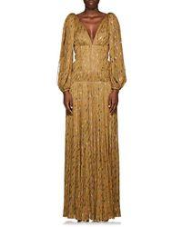 J. Mendel - Metallic-weave Silk Plissé Gown - Lyst