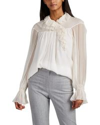 28db84f8b0dca Chloé - Ruffled Silk Blouse - Lyst