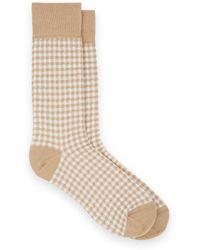 Barneys New York - Checked Cotton-blend Mid-calf Socks - Lyst