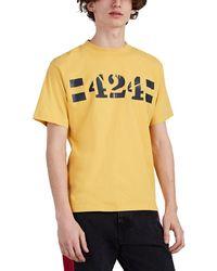 424 Stenciled Logo Cotton T-shirt - Yellow