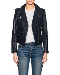 Barneys New York - Leather Moto Jacket - Lyst