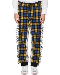 Moschino - Fringed Plaid Flannel Jogger Pants Size 52 Eu - Lyst