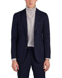 Piattelli Mélange Brushed Knit Two-button Sportcoat - Blue