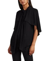 Givenchy - Cape-sleeve Silk Crepe Tieneck Blouse - Lyst