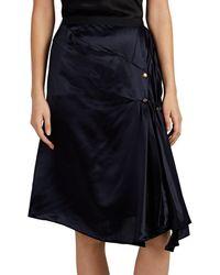 Nina Ricci - Stud-detailed Asymmetric Draped Satin Miniskirt - Lyst