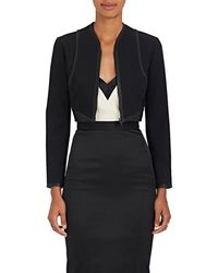 Narciso Rodriguez - Leather-trimmed Wool Crop Jacket - Lyst