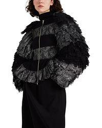 Noir Kei Ninomiya Metallic-striped Lace Tiered-sleeve Jacket - Black