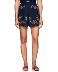 Zimmermann - Laelia Floral Cross-stitched Linen-cotton Shorts - Lyst