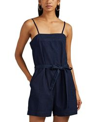 3x1 - Bowers Cotton Chambray Belted Romper - Lyst