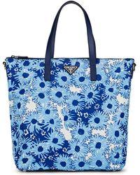 Prada Leather-trimmed Floral Tote Bag - Blue