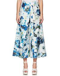 By. Bonnie Young - Floral Cotton-silk Wrap-front Pants - Lyst