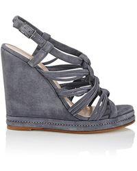 Barneys New York - Knotted-strap Suede Platform-wedge Sandals - Lyst