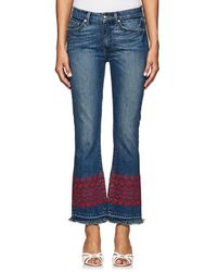 10 Crosby Derek Lam - Jane Eyelet-embroidered Crop Flared Jeans - Lyst