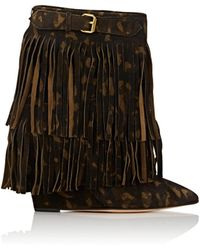 Jérôme Dreyfuss - Camouflage Fringed Suede Wedge Ankle Boots - Lyst