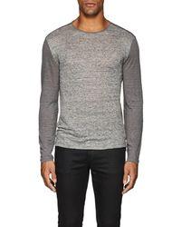 John Varvatos - Striped-front Linen T-shirt - Lyst