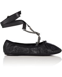 Valentino - Leather Ankle-strap Flats - Lyst